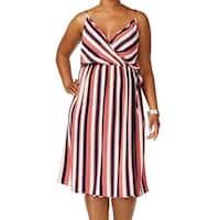 Soprano Red Blue Womens Size 1X Plus Striped Faux Wrap A-Line Dress