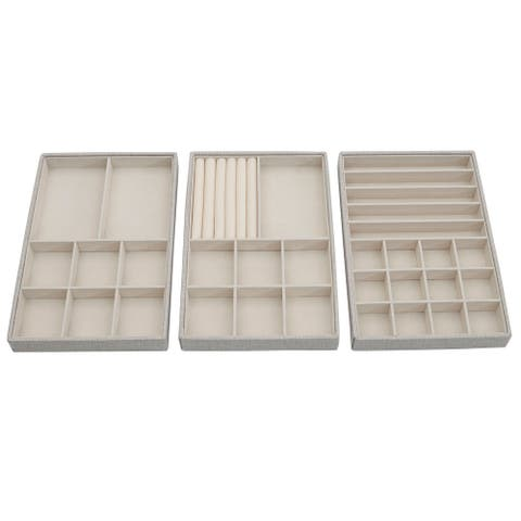 Household Essnetials Stackable Jewelry Storage Trays, 3-Tier, Silver