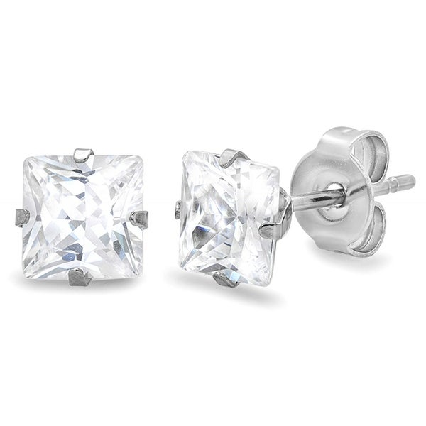 Discontinued Stainless Steel 6mm Square-Princess Cubic Zirconia Stud Earrings (4ct tw)