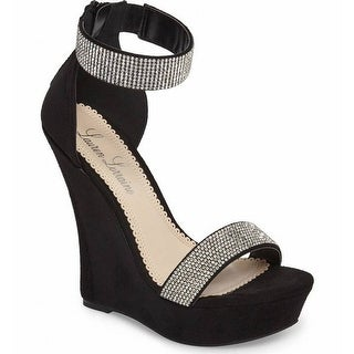 Lauren Lorraine NEW Black Women's Size 8M Lana Embellished Wedge Sandal