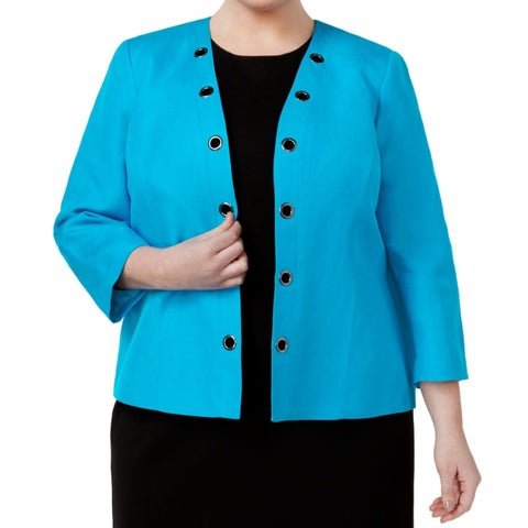 Kasper NEW Blue Womens Size 20W Plus Open-Front Grommet Trim Jacket