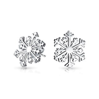 Bling Jewelry Modern Winter Snowflake Stud earrings 925 Sterling Silver 17mm