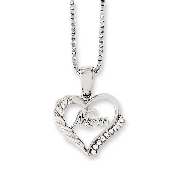 Chisel Stainless Steel Mom with CZ 18in Necklace (1.2 mm) - 18 in