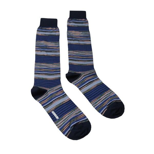 Missoni GM00CMU4658 0002 Blue/Orange Striped Knee Length Socks - M