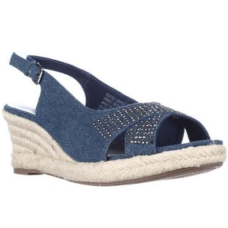 KS35 Dotti Slingback Espadrille Wedge Sandals - Medium Denim
