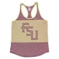 Nike Womens Florida State Seminoles Dri FIT DB Mesh Tank Heather Maroon - heather maroon/light yellow - L