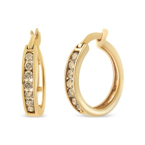 10K Yellow Gold Plated .925 Sterling Silver 1/4 Cttw Channel Set Champagne Diamond Hoop Earring (K-L Color, I1-I2 Clarity)