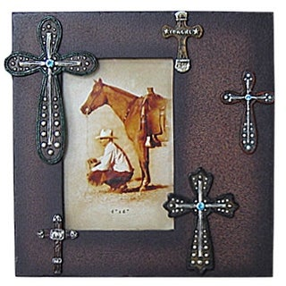 Gift Corral Western Decor Frame Photo Crosses 4x6 Brown 87-1214