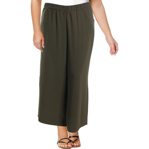 Vince Camuto Womens Plus Dress Pants High Rise Textured - Green Oasis