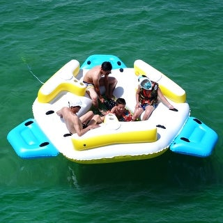 Link to ALEKO Inflatable Floating Island Lounge Raft with Cup Holders and Coolers - 6 Person - White with Yellow,Blue Similar Items in Water Sports Equipment