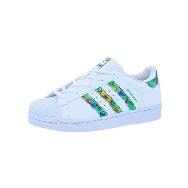 Adidas Girls Superstar Fashion Sneakers Printed Shell Toe - 3 medium (b c3cd9032834c