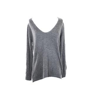 Studio M Steel Open-Stitch V-Neck Sweater M