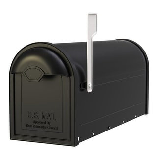 Architectural Mailboxes 8830-10  Winston Post Mount Mailbox with Nickel Flag