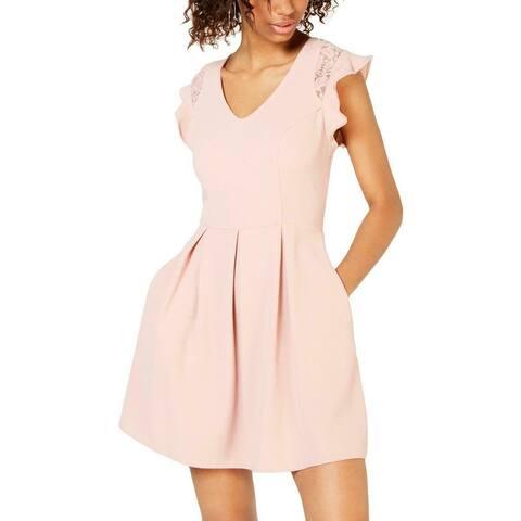 Speechless Women's Dress Blush Pink Size XS A-Line Flutter Sleeve