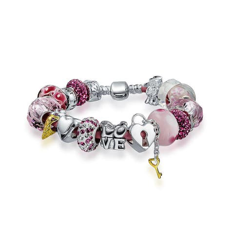 Valentine Sweetheart Love Relationship Couples Bead Charms Bracelet