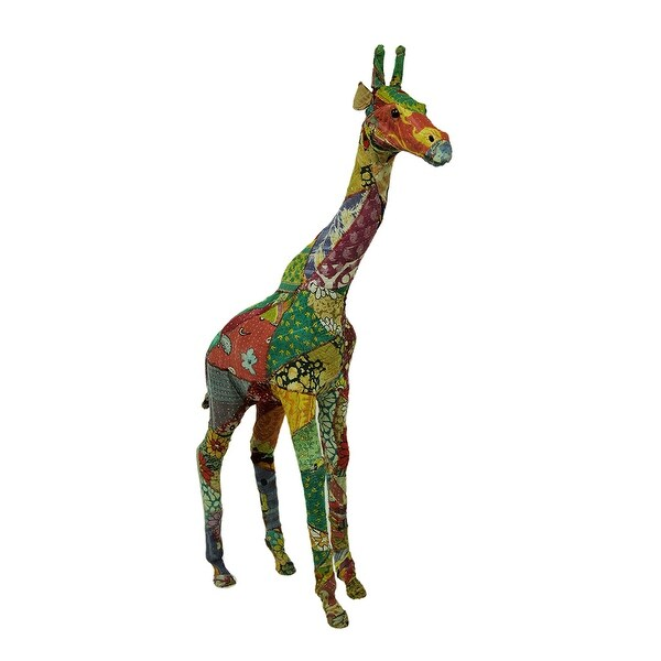 Colorful Vintage Indian Sari Fabric Wrapped Giraffe Sculpture 37 Inch - 37 X 23 X 8 inches