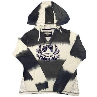 Farm Girl Western Sweatshirt Womens Ombre Stripe Navy