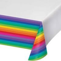 """- Rainbow Plastic Tablecover 54""""X102"""""""