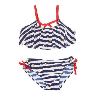 Real Love Little Girls Navy Stripe Print Ruffle Top 2 Pc Swimsuit