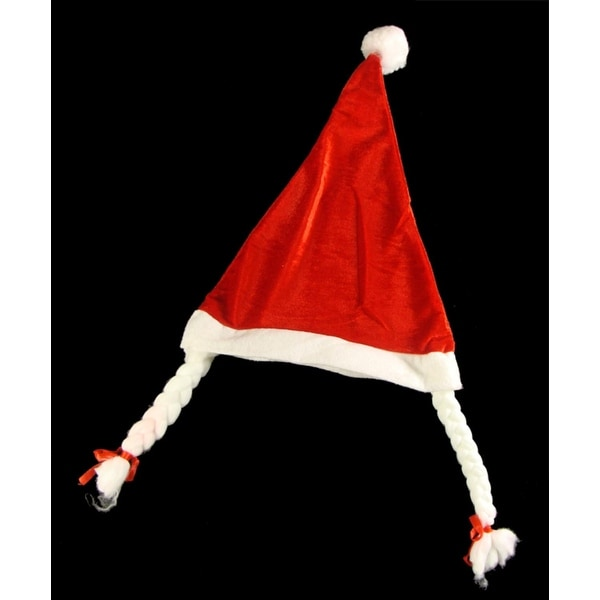 Club Pack of 144 Mrs. Santa Hats with Braided Pig Tails - RED