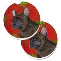 French Bulldog Red & Green Snowflakes Holiday Christmas Set of 2