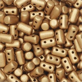 Czech Glass Matubo, Cylindrical 2-Hole Rulla Beads 3x5mm, 22 Gram Tube, Crystal Bronze Pale Gold