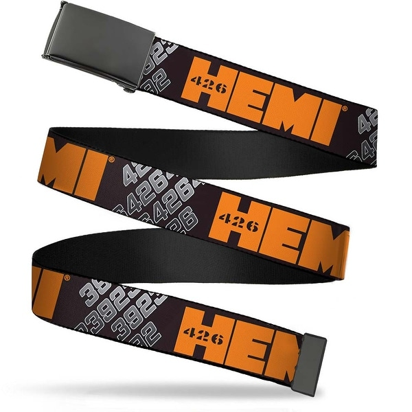 "Blank Black 1.25"" Buckle Hemi 426 Logo 392 426 Black Orange Silver Fade Web Belt 1.25"" Wide - M"