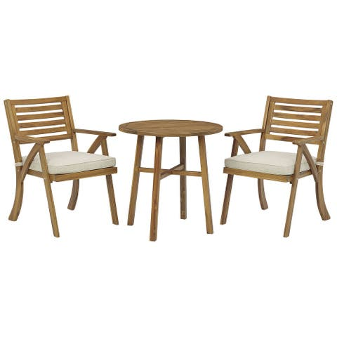 """Vallerie Brown Chairs with Cushion and Table Set, Set of 3 - 28""""W x 28""""D x 29""""H"""