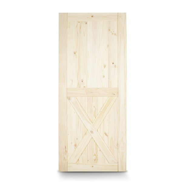 """BELLEZE 36"""" x 84"""" inches Sliding Barn Door Natural Wood Pine Unfinished, Lower X"""