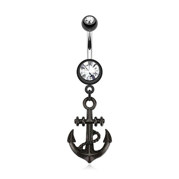 Black Anchor Dangle Navel Belly Button Ring 316L Surgical Steel