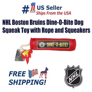 NHL Boston Bruins Dine-O-Bite Dog Squeak Toy with Rope - Tough Nylon - Licensed