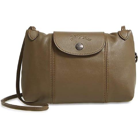 LongChamp Womens Le Pliage Cuir Crossbody Bag Lichen Khaki