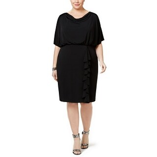 Jessica Howard Plus Size Draped Ruffle Blouson Dress - 14W