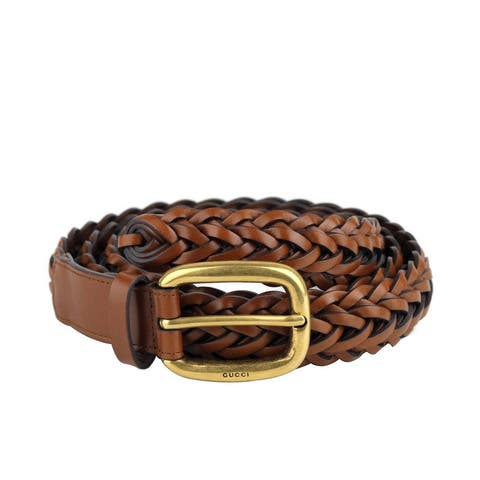 Gucci Men's Brown Braided Leather Gold Buckle Belt 380606