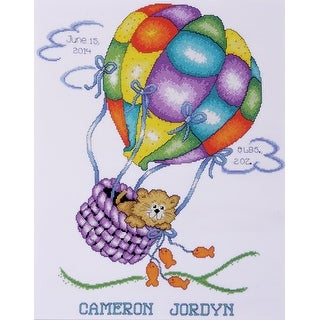 """Balloon Cat Birth Record Counted Cross Stitch Kit-11""""X14"""" 18 Count"""