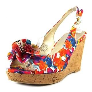 Bandolino Adalia Women Open Toe Canvas Multi Color Wedge Heel