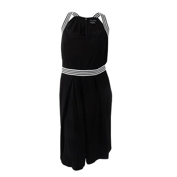 City Chic Women\'s Plus Size Nautical Halter Fit & Flare Dress (XL/22W,  Black) - Black - 22W