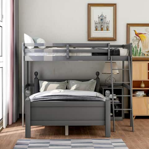 Twin over full loft bed with cabinet