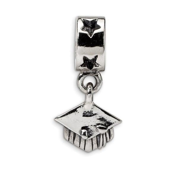 Sterling Silver Reflections Graduation Cap Dangle Bead (4mm Diameter Hole)