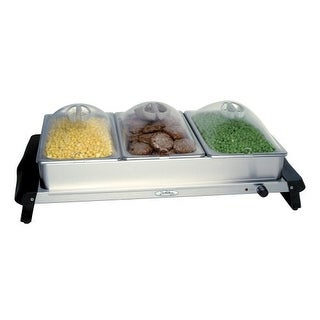 BroilKing NBS-3SP Professional Triple Buffet Server w/ Stainless Base & Plastic Lids