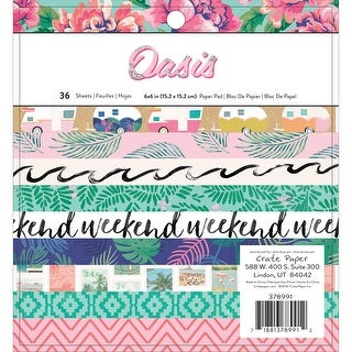"Crate Paper Single-Sided Paper Pad 6""X6"" 36/Pkg-Oasis - Oasis"
