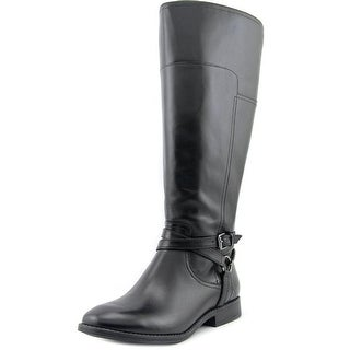 Marc Fisher Alexis Wide Calf Women Round Toe Leather Black Knee High Boot