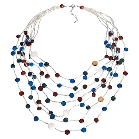 Handmade Blue Elegance Coco Palm Wood and Seashell Circles Multi-Strand Necklace (Thailand) - multi-color
