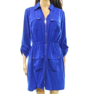 Alfani NEW Blue Women's Size 14 Full-Zip Cargo Roll Tab Shirt Dress