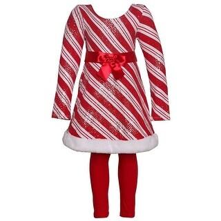 Bonnie Jean Girls Red Stripe Santa Style Dress 2 Pc Legging Outfit
