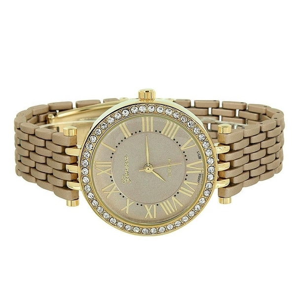 Womens Geneva Watch Gold Tone White Dial Brown Band Analog Display Stainless Steel Back Quartz Movement