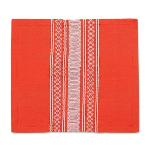 Handmade Sweet Tangerine Zapotec Cotton Cushion Cover (Mexico)
