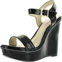 Kayleen Cheri-1 Womens Patent Strappy High Heel Platform Wedge Sandals