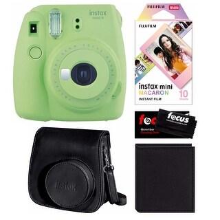 Fujifilm Instax Mini 9 (Lime Green) w/Macaron Film, Groovy Case & Album Kit