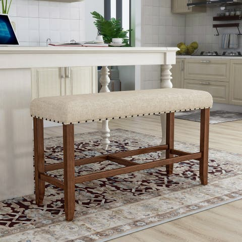 Furniture of America Tays Contemporary Brown Counter Dining Bench